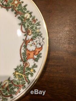 12 FITZ & FLOYD LARGE ST. NICHOLAS CHRISTMAS DINNER PLATES VINTAGE Signed