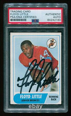 1968 Topps #173 FLOYD LITTLE Signed Auto HOF Rookie Card RC, VG/EX, PSA/DNA