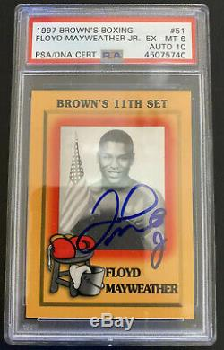 1997 Browns Boxing Card #51 Floyd Mayweather Jr. Rookie RC Autographed PSA 6