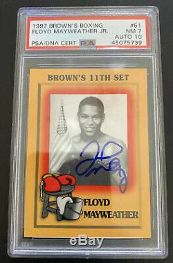 1997 Browns Boxing Card #51 Floyd Mayweather Jr. Rookie RC Autographed PSA 7