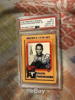 1997 Browns Boxing Card #51 Floyd Mayweather Jr. Rookie RC Autographed PSA Mint