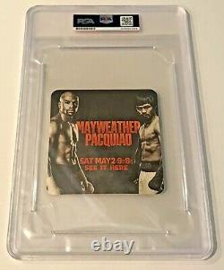 2015 Manny Pacquiao VS Floyd Mayweather Signed Auto Beer Bar Coaster PSA/DNA