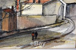 23 Vintage Signed Floyd Berg Watercolor Painting Industrial Town Church Tower