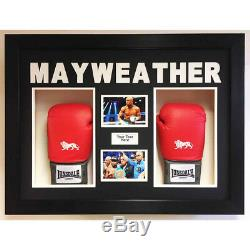 BOXING GLOVE DISPLAY CASE/3D BOX FOR 2x Signed Floyd Mayweather Gloves with Pics