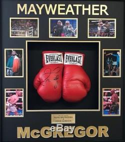 Conor McGregor & Floyd Mayweather Signed & FRAMED Boxing Gloves RARE AFTAL COA
