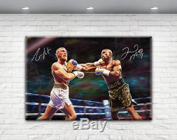 Conor Mcgregor Floyd Mayweather Money Fight Signed Canvas Ufc Boxing