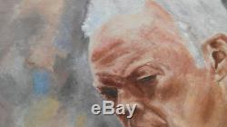 David Gilmour oil painting 40X30 hand painted pink floyd art pop fine gallery