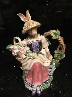 Decorative Teapot signed Handpainted Fitz & Floyd Old World Mrs. Bunny Rabbit