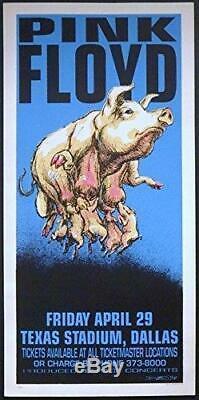 Derek Hess Pink Floyd Signed Silkscreen Limited Edition Rock Concert Poster