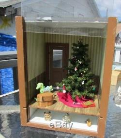 Dollhouse Miniature Artist Christmas Morning Room Box Tree Signed Floyd Artisan