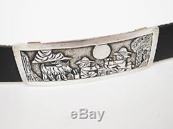 FLOYD BECENTI SIGNED NAVAJO Sterling Silver CONCHO STORY TELLER BELT Horses