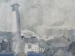 FLOYD HOPPER Original Watercolor WPA Regionalism Modernism Erie Land Lighthouse