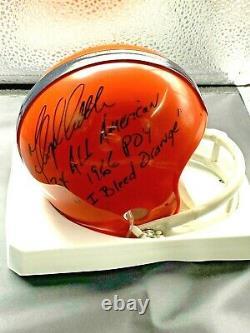 FLOYD LITTLE SIGNED SYRACUSE MINI HELMET I Bleed Orange JSA/Coa Denver Broncos