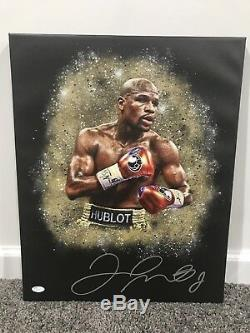 FLOYD MONEY MAYWEATHER Autographed SIGNED 16x20 Stretched CANVAS withJSA COA TMT