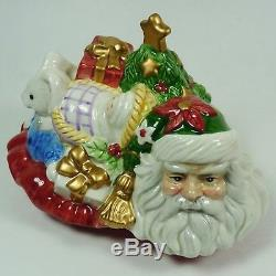 Fitz and Floyd Signed Santas Sleigh Cookie Jar with Box