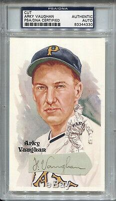 Floyd Arky Vaughan Baseball HOF Signed Cut Autograph Perez Steele PSA/DNA D. 1952