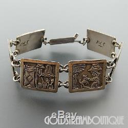 Floyd Becenti, Jr Navajo Sterling Silver Overlay Storyteller Panel Wide Bracelet
