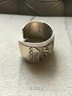Floyd Becenti  Navajo Sterling Silver Cuff Bracelet Corn Harvest Signed