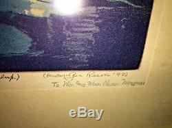 Floyd Leslie Thompson Illinois Artist Rookwood Pottery Colored Aquatint 1948 Wow