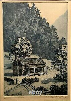 Floyd Leslie Thompson Original Aquatint 1929, Hand SIGNED Tennessee Cabin