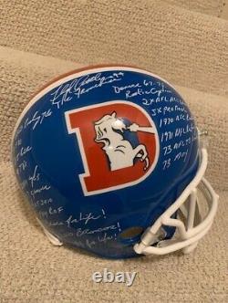 Floyd Little Autographed Full Size Broncos Stat Helmet+jsa 20 Inscriptions