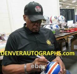 Floyd Little Autographed/Signed Denver Broncos D Logo Mini Helmet HOF JSA 12160