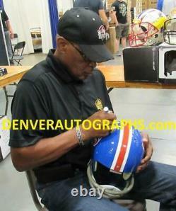 Floyd Little Autographed/Signed Denver Broncos TK Helmet 2 Insc JSA 22077