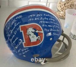Floyd Little Autographed Signed Stats Helmet Full Size 18 Inscriptions JSA