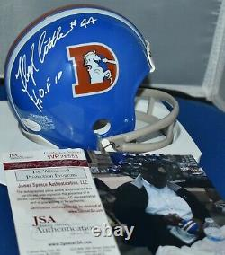 Floyd Little Autographed Two Bar Throwback Mini Helmet Denver Broncos Hof 10 Jsa