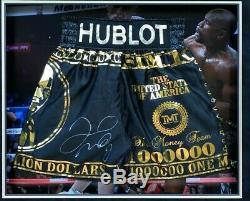 Floyd Mayweather Jnr FRAMED & SIGNED Boxing Trunks Proof McGregor AFTAL COA