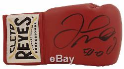 Floyd Mayweather Jr. 50-0 Signed Cleto Reyes Red Boxing Glove BAS Witnessed
