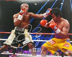 Floyd Mayweather Jr. Authentic Signed 16x20 Vs Manny Pacquiao Photo BAS Witness