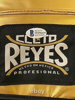Floyd Mayweather Jr. Autographed Cleto Reyes Gold Boxing Glove RH Beckett Auth
