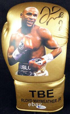 Floyd Mayweather Jr. Autographed Gold Boxing Glove With Photo Rh Beckett 123603