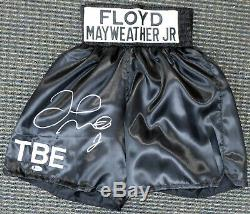 Floyd Mayweather Jr. Autographed Signed Black Boxing Trunks Beckett Bas 159668