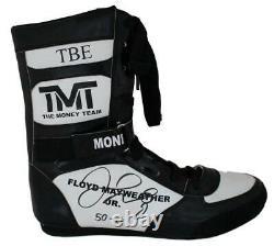 Floyd Mayweather Jr Autographed TMT TBE Black Right Boxing Shoe 50-0 BAS 24970