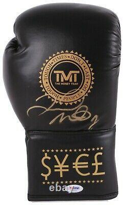 Floyd Mayweather Jr. Signed TMT Black Boxing Glove (PSA COA)