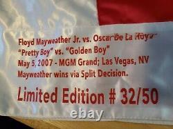 Floyd Mayweather Jr signed & Oscar de la Hoya signed Boxing Trunks JSA Cert