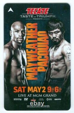 Floyd Mayweather Manny Pacquiao Full ticket Program $25 chip Autographed Pass