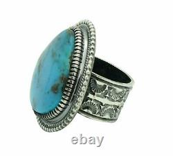 Floyd Parkhurst, Ring, Heavy Silver, Kingman Turquoise, Navajo Handmade, 10 1/2