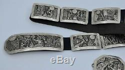 HUGE unique storyteller sterling silver & Turquoise concho belt by Floyd Becenti