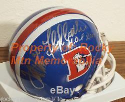 Hall Of Famers Broncos D-Style TERRELL DAVIS and FLOYD LITTLE Signed Mini Helmet