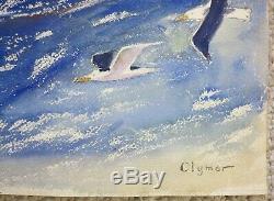 James Floyd Clymer 1920's fishermen gulls seascape modernist artist
