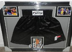 MANNY PACQUIAO FLOYD MAYWEATHER autographed framed boxing trunks- JSA Letter