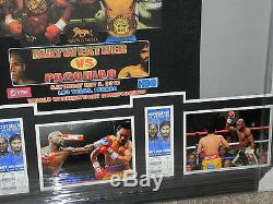 MANNY PACQUIAO FLOYD MAYWEATHER autographed framed fight t-shirt- JSA Letter