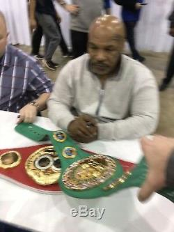 MIKE TYSON Floyd Mayweather DUAL Signed Full Size Green WBC Belt Beckett JSA Pic