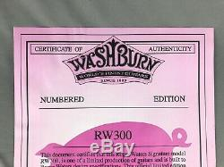 NEW Washburn USA RW300 Roger Waters Pink Floyd Autographed Certificate COA BLANK