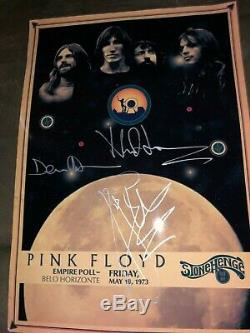 PINK FLOYD Signed x (3) A3 Concert Poster Stonehenge 1973