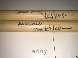 Pink Floyd Nick Mason Both Signed Drumstick Set Drum Autographed Coa Postcard