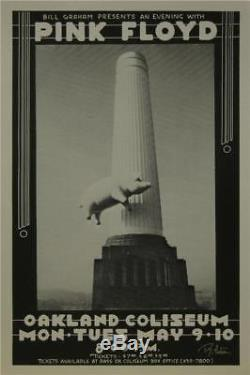 Pink Floyd Rock Concert Poster Signed Randy Tuten Oakland California
